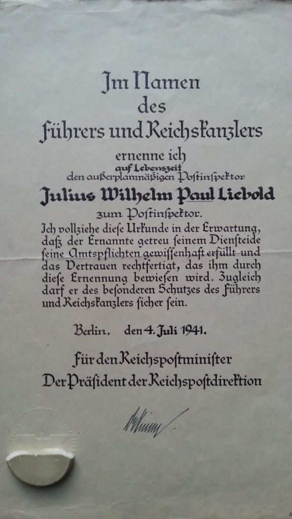 Ernennungsurkunde Juli 1941