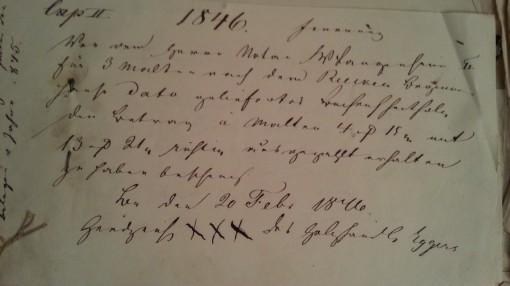 von Damm Beleg 1846 xxx