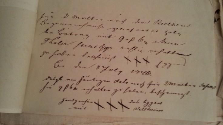 von Damm Beleg 1846 Handzeichen xxx des Eggers aus Veltenheim