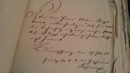 von Damm Beleg 1846 Handz. xxx des Holzhauers Plersmann