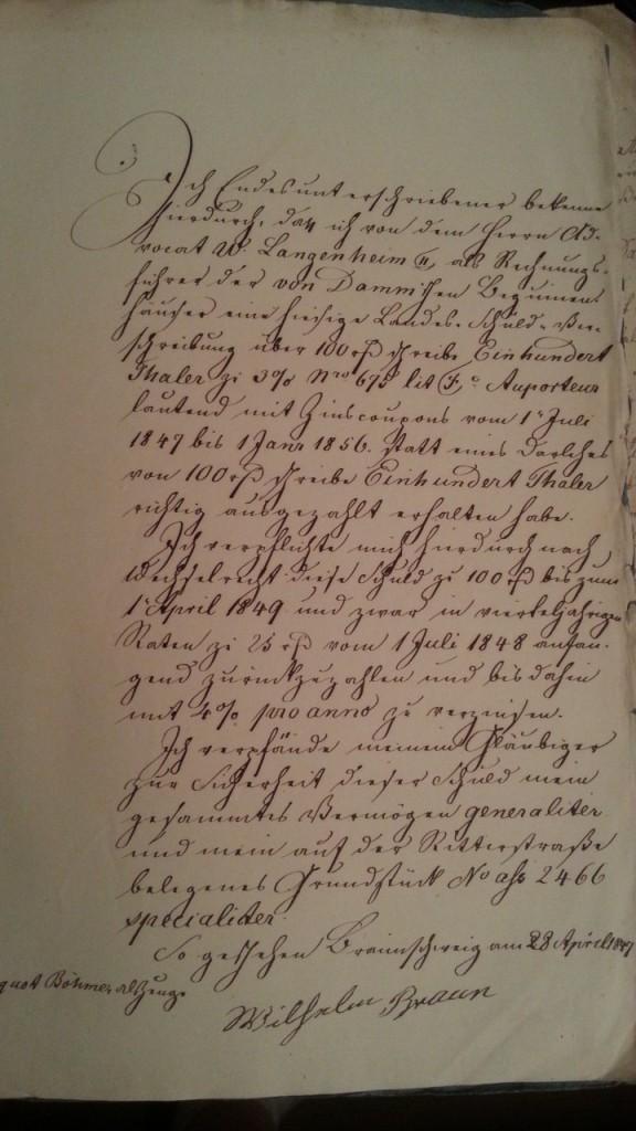 von Damm Darlehen 100 Thaler 28. April 1847