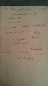 von Damm Rechnung 1858 3 Malter Buchenbrennholz