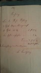 von Damm Rechnung 1858 3 Schock Wasen kleingemacht, Für ... aufeisen