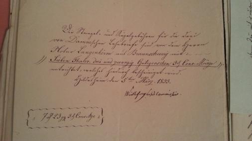 von Damm Stempel- und Siegelgebühren für Lehnbriefe 1833