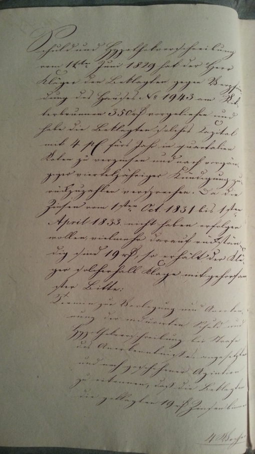 von Damm Klage gegen Witwe Rohde 1829-1833