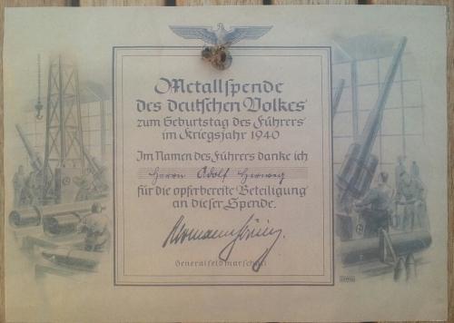 """Metallspende anlässlich des """"Geburtstages des Führers im Kriegsjahr 1940"""""""