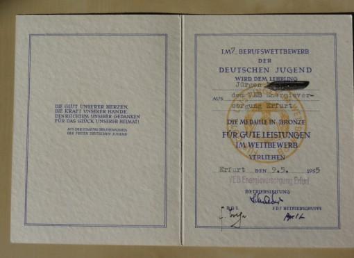 DDR Auszeichnung Berufswettbewerb der Deutschen Jugend 1955