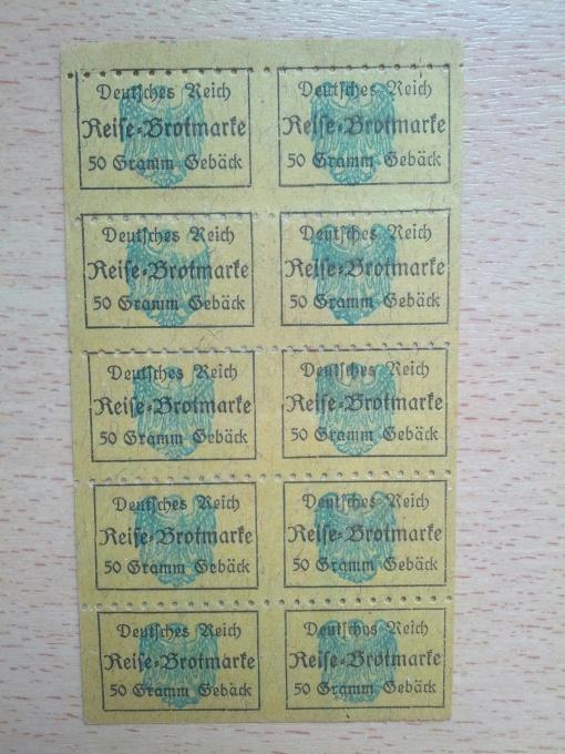 Deutsches Reich Reise-Brotmarke 1917, Abschnitt für 50 Gramm Gebäck