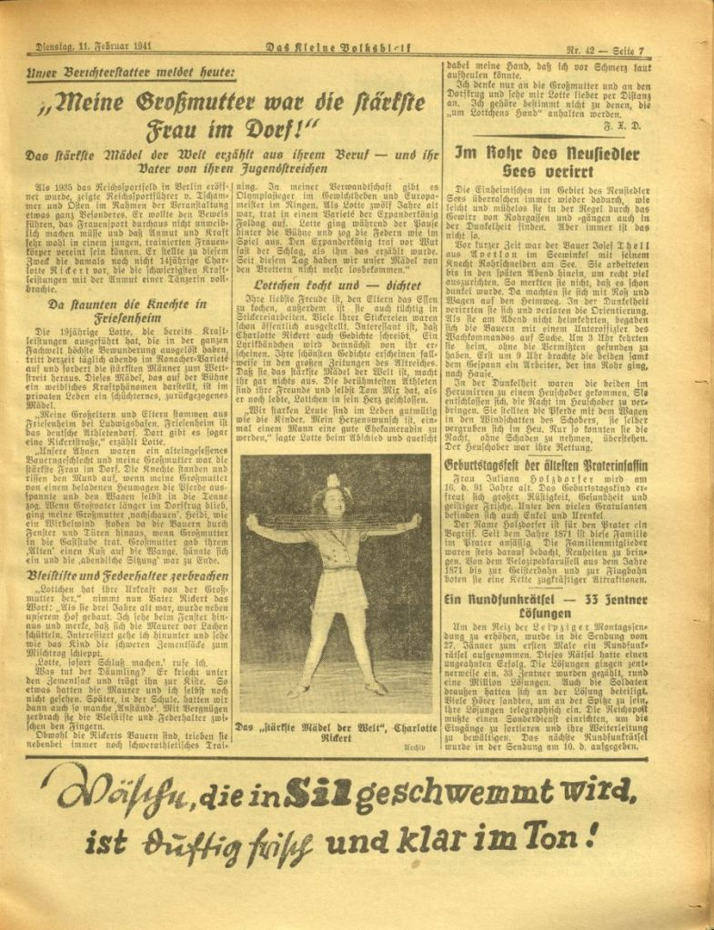 Charlotte Rickert - die Eröffnung des Reichssportfelds in Berlin, 1935